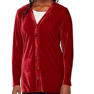 Denim & Co stretch velvet button cardigan NWOT